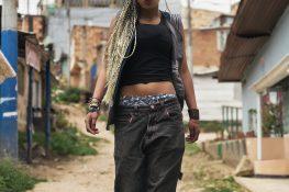 Portrait of beautiful black woman in her neighborhood.