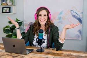 Samantha Lee Wright, podcast founder and entrepreneur, at work.