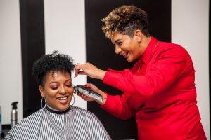 Lesley Bryant (a female barber at work)